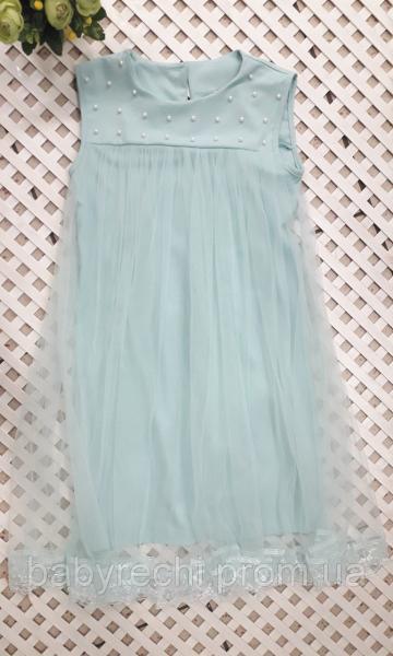 Платье для девочки свободного кроя с фатином, 140-152 см 146