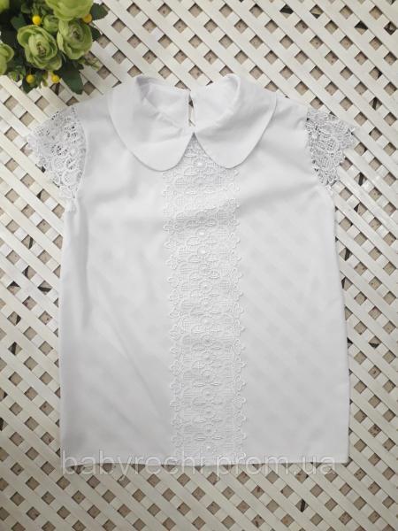 Красивая блузка с кружевом 128-158 см
