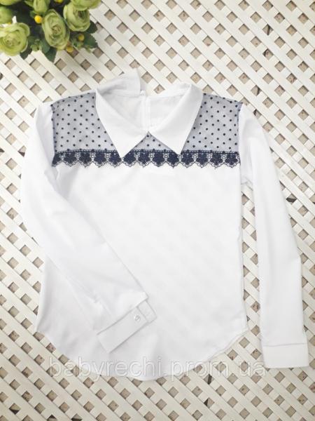 Красивая блузка с длинным рукавом девочке 128-164 см