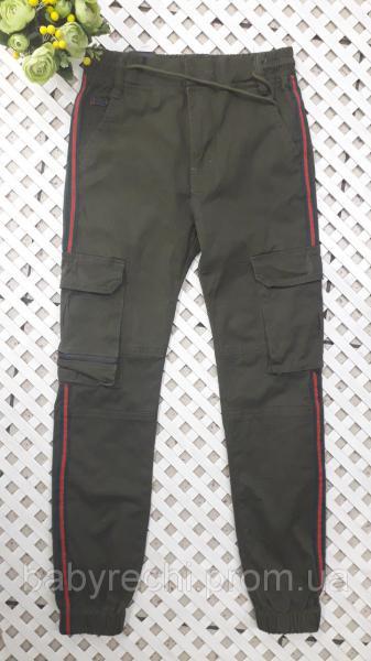 Котоновые штаны на резинке с карманами мальчику 9-16 лет 11