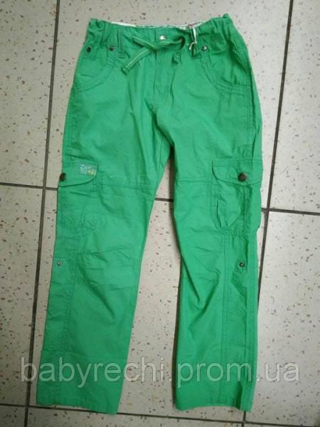 Детские зеленые летние штаны для девочки 134