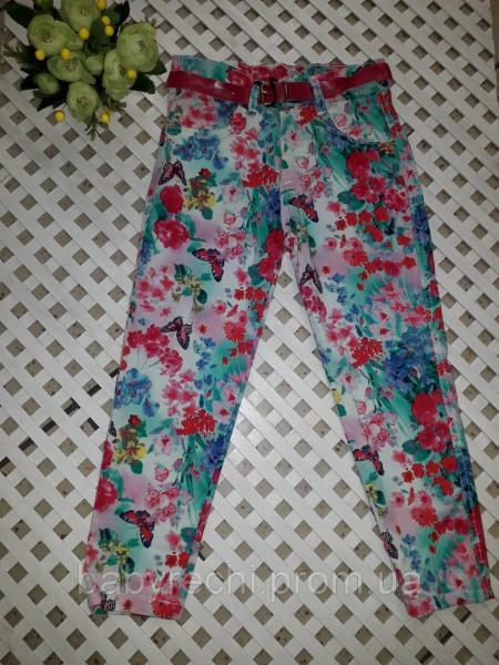 Детские штаны в цветок 6-8 7