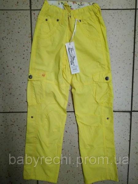 Детские желтые штаны с карманами для девочки 140,164 140