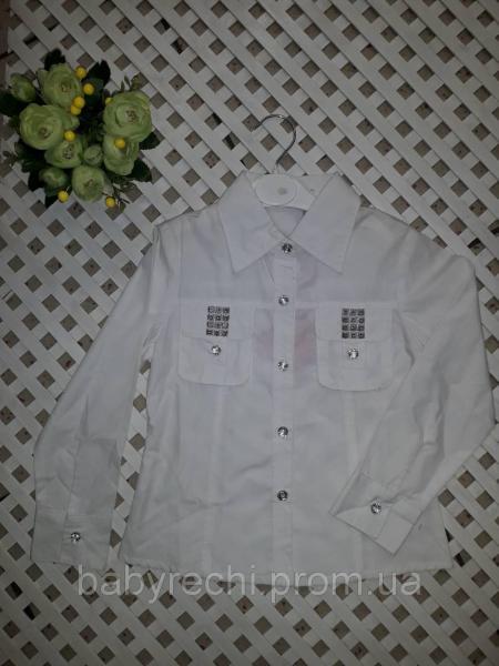 Детская школьная хлопковая блузка для девочки 5-7 лет 5