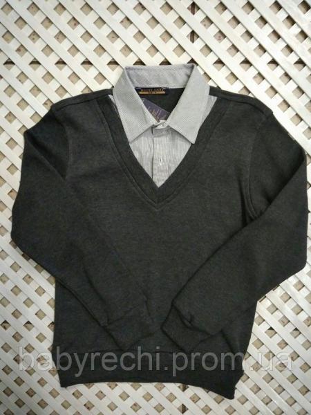 Стильный теплый свитер-обманка на мальчика 128