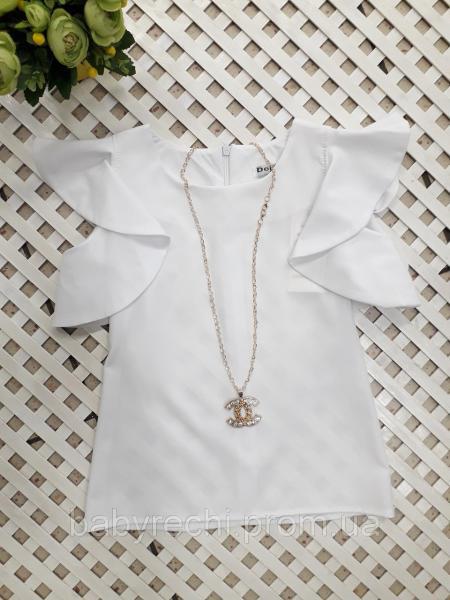 Блузка для девочки с красивыми рукавами, 122-146 см