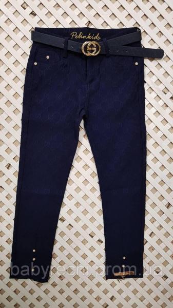 Детские стильные синие штаны для девочки с поясом 6-12