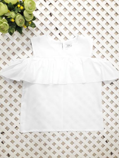 Блузка белая девочке с воланом, 128-146 см