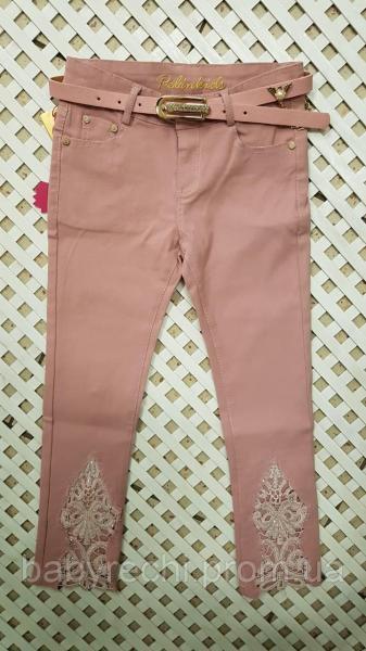 Детские розовые стильные штаны для девочки с поясом 6-12