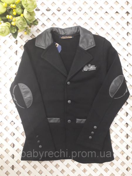 Модный пиджак с кожаными вставками мальчику 128-164 см 140
