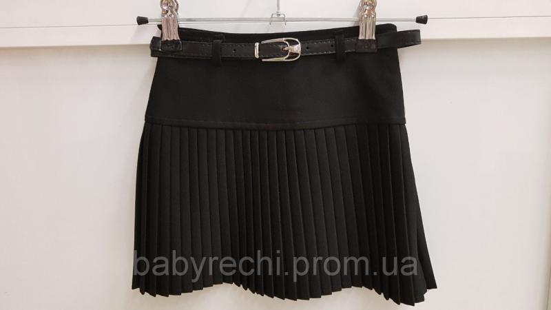 Детская школьная юбка для девочки плиссировка черная 24