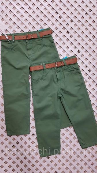 Детский стильные зеленые штаны с поясом для мальчика 1-4 92