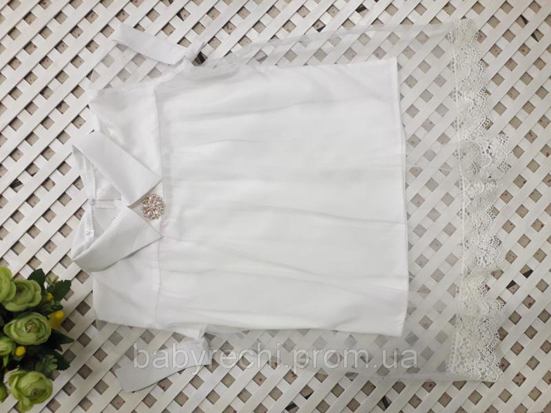 """Блузка школьная детская """"Шанэль"""" молочная с коротким рукавом 128-140-152-164 см  140"""