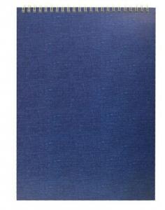 Фото Бумажная продукция (ЦЕНЫ БЕЗ НДС), Блокноты, КНИГИ УЧЕТА, алфавитные книжки, альбомы для рисования Блокнот на верхней или боковой спирали А4 синий, ЦЕНЫ см. подробнее