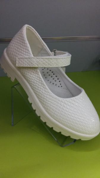 Детские туфли на девочку белые под кожу крокодила 29,30 30