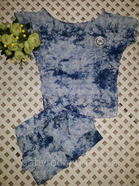 Летний комплект шорты и блуза с штапеля для девочки 4 до 10 лет