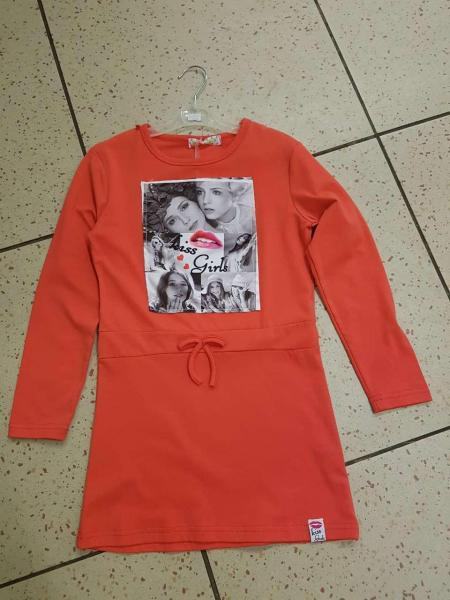 Детское платье, туника на девочку коралловая 8 лет