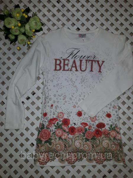 Кофта, туника для девочки молочная в цветы Beauty 128, 140, 152