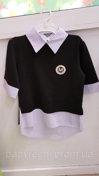 Детская школьная обманка-рубашка для девочки 134-140 134-140