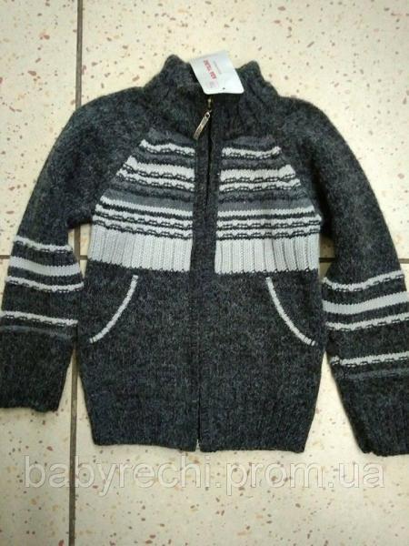 Зимний шерстяной серый свитер на мальчика