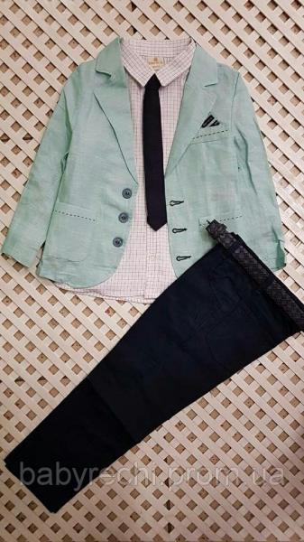 Детский нарядный бирюзовый костюм с галстуком на мальчика 2-5