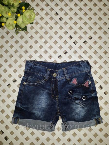 Детские стильные джинсовые шорты Киця для девочки 3-6