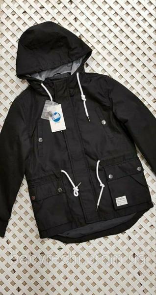 Детская стильная черная курточка  для мальчика 128-158