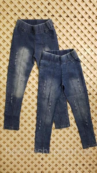 Детские голубые джинсы для девочки на резинке 3-7 6