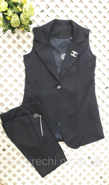Стильный костюм с брюками-лосинами и жилетом 128-146 см