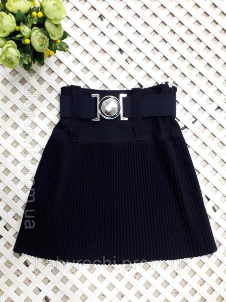 Детская школьная юбка для девочки плиссировка т.синяя