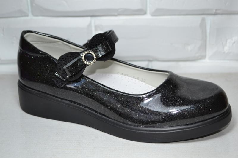 Туфли Tom.m черные с блестками для девочки 33р-38р
