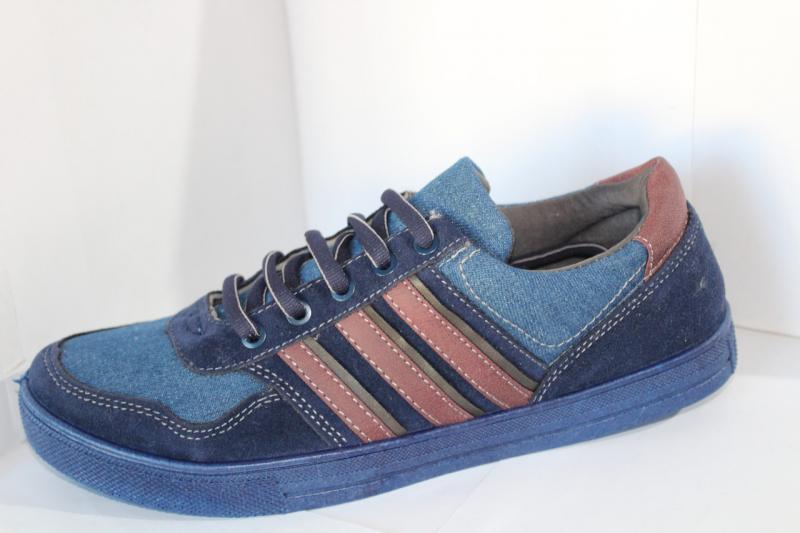 Мужские мокасины синего цвета на шнуровке со вставками на шнурке