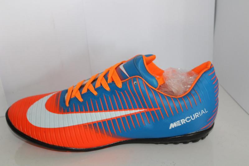 Футбольные кроссовки(копы) Nike Mercurial сороконожки на шнуровке для игры в футбол на шнурке оранжевый с голубым, 40-45, 36-41