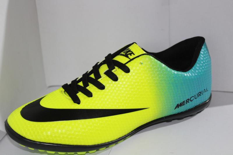 Футбольные кроссовки(копы) Nike Mercurial  сороконожки на шнуровке для игры в футбол на шнурке голубой