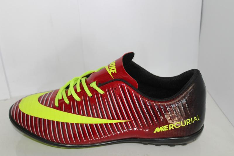 Футбольные кроссовки(копы) Nike Mercurial сороконожки на шнуровке для игры в футбол на шнурке Красный, 40-45