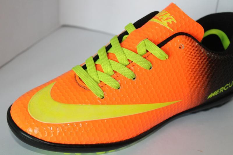 Футбольные кроссовки(копы) Nike Mercurial сороконожки на шнуровке для игры в футбол на шнурке оранжевый, 36
