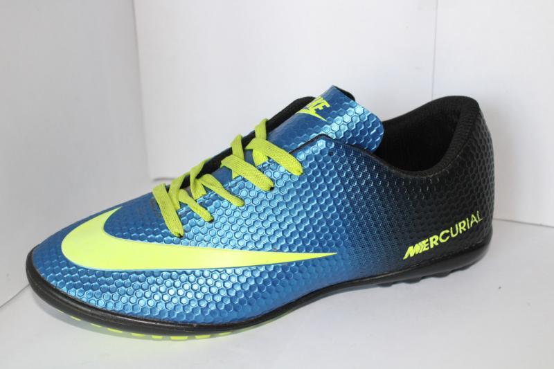 Футбольные кроссовки(копы) Nike Mercurial сороконожки синие на шнуровке для игры в футбол на шнурке 40, 40, Синий