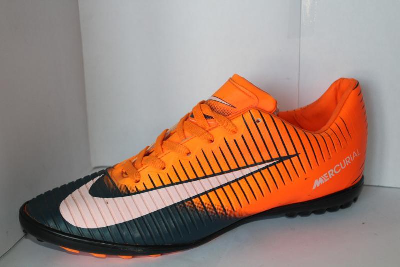 Футбольные кроссовки(копы) Nike Mercurial сороконожки на шнуровке для игры в футбол на шнурке Оранжевый, 43