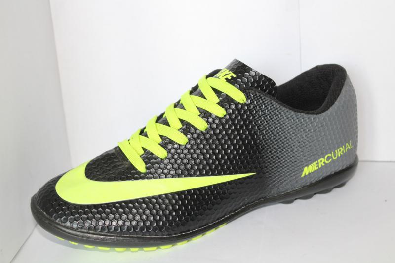 Футбольные кроссовки(копы) Nike Mercurial чёрные с серым сороконожки на шнуровке для игры в футбол на шнурке