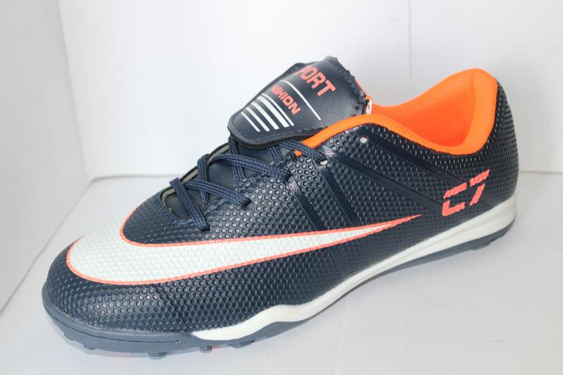 Футбольные кроссовки(копы)  сороконожки на шнуровке для игры в футбол на шнурке Синий, 40