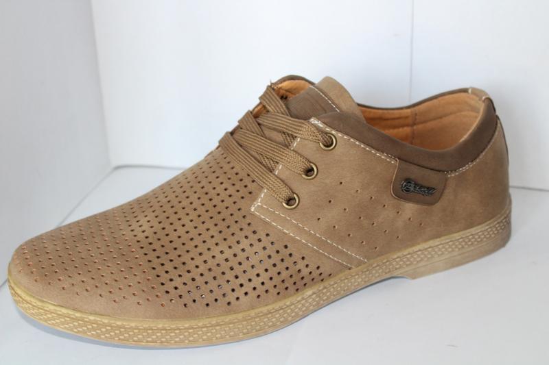 Фото Туфли Мужские туфли коричневые на шнуровке в дырочку на шнурке Коричневый, 40-45