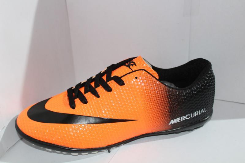 Футбольные кроссовки(копы) Nike Mercurial оранжевые сороконожки на шнуровке для игры в футбол на шнурке