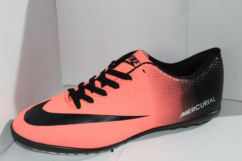 Футбольные кроссовки(копы) Nike Mercurial розовые сороконожки на шнуровке для игры в футбол на шнурке