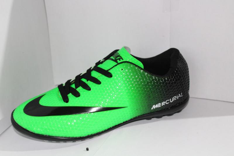 Футбольные кроссовки(копы) Nike Mercurial зелёные сороконожки на шнуровке для игры в футбол на шнурке