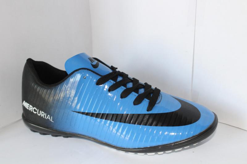 Футбольные кроссовки(копы) Nike Mercurial сороконожки синие на шнуровке для игры в футбол на шнурке 40, Чёрный