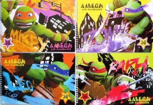 """Альбом для малювання А4 (спіраль, обкл. в асортименті, 30 арк.) - AL-A4-30-Sp-LT-28 """"Черепашки-ніндзя"""""""