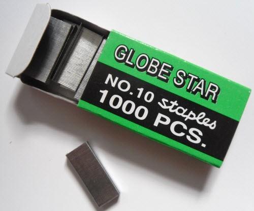 """Скобы для канцелярского степлера №10, 1000 шт. """"Globe Star"""""""