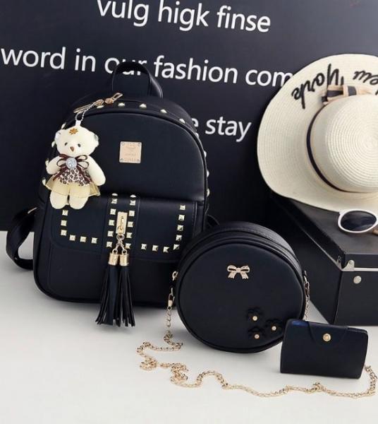 """Набор черный Рюкзак+сумка+визитница  """"С брелком Мишка"""""""