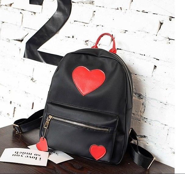 """Рюкзак черный """"С сердечками"""""""