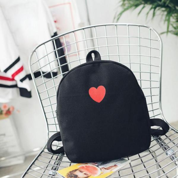 """Рюкзак черный """"С красным сердечком"""""""